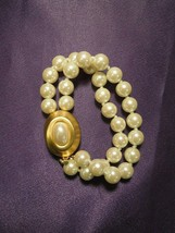GIVENCHY Faux Pearl Bead & Gold Tone Bracelet Signed Vintage - $64.35
