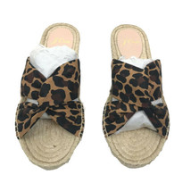 j crew leopard canvas twisted knot espadrilles flat Slides Sandals size 6 - $39.59