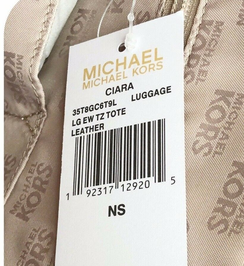 NWT MICHAEL KORS SAFFIANO LEATHER CIARA LARGE EW TOP ZIP TOTE BAG IN LUGGAGE