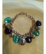 Bead bracelet gold tone and glass beads pre-owned - $11.00