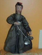 "Cloth Black 10"" Americana Folk Art Rag Doll tin / metal cookware peddler... - $49.99"