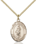 14K Gold Filled Santa Barbara Pendant 3/4 x 1/2 inch with 18 inch Chain - $100.96