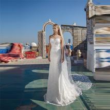 Spring O-Neck Lace Appliques Mermaid Wedding Dresses Sleeveless Custom Made image 2