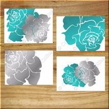 Teal Gray Modern Rose Peony Wall Art Prints Decor Flower Bathroom Bedroo... - $13.99