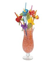 tkpartysupplies4u 36 Hibiscus Flower Bendable Straws Luau Hawaiian Tropi... - $15.84