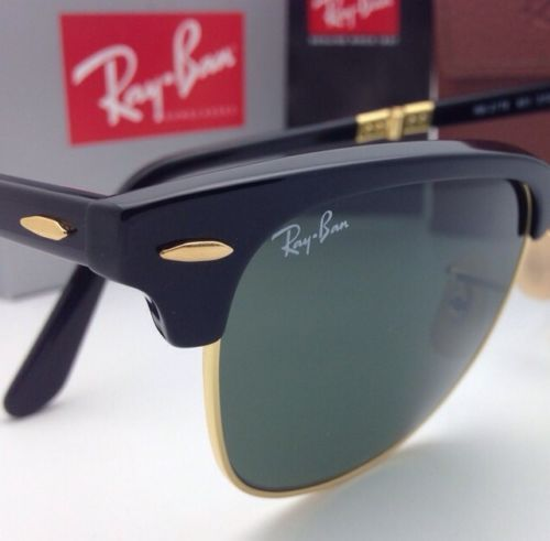 4f99bf1b06a New RAY-BAN CLUBMASTER Folding Sunglasses RB 2176 901 51-21 Black   Gold