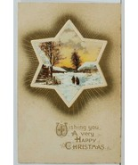 Happy Christmas Scenic View Through Shining Star Embossed Postcard O13 - $4.95