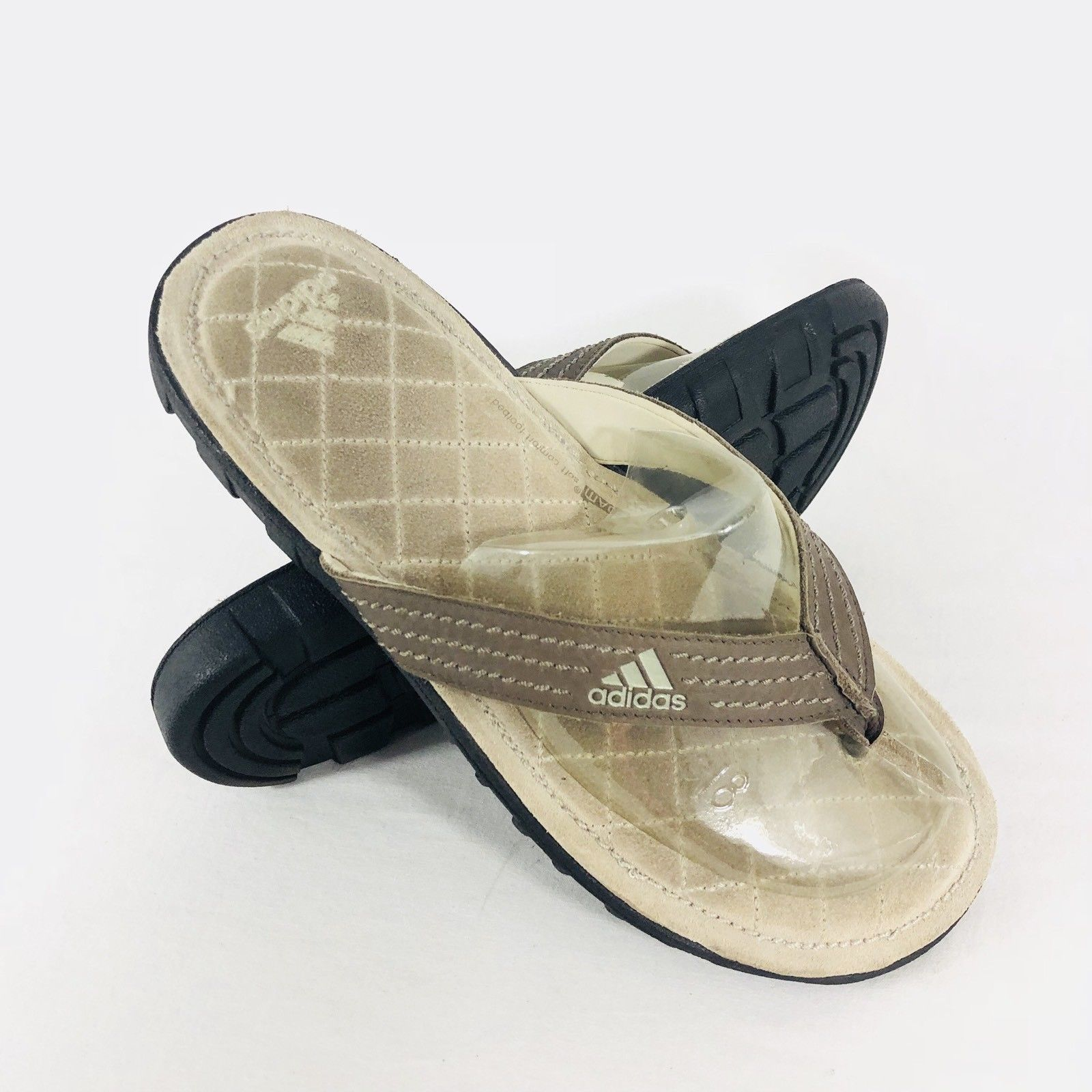 7bb195332 S l1600. S l1600. Adidas Mens Brown Tan Suede Fit FOAM Soft Comfort Footbed Flip  Flop Sandals Sz ...