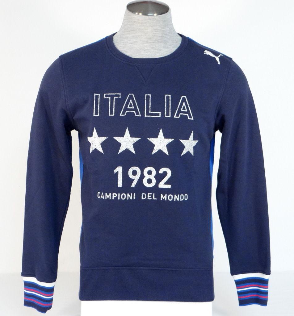 Puma Italia Football Navy Blue Tounament Crew Neck Sweatshirt Italy Men's NWT - $63.74