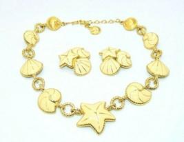 Trifari Beige Enamel Starfish Nautilus Shell Gold Tone Necklace Clip Ear... - $98.99