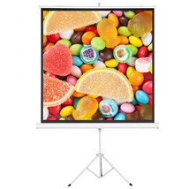 "New 100"" 1:1 Projection screen Tripod Projector Multi Aspect Pull Up Hom... - $49.99"