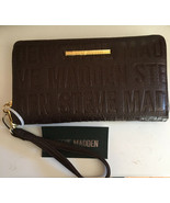 Steve Madden Wallet Brown Stamped Logo Gold Zipper Organizer Wristlet Sh... - $37.99