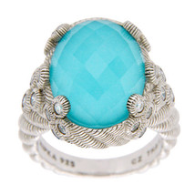 JUDITH RIPKA 925 Sterling Silver Blue Doublet & Diamonique Ring Size 7 »... - £93.07 GBP