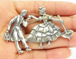 KRISTINA KELM 925 Silver - Vintage Dancing Man & Woman Brooch Pin - BP3708 - $101.13