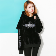 Gothic Sweatshirt Black Hoodies Women High Street Harajuku Loose Casual ... - $49.51