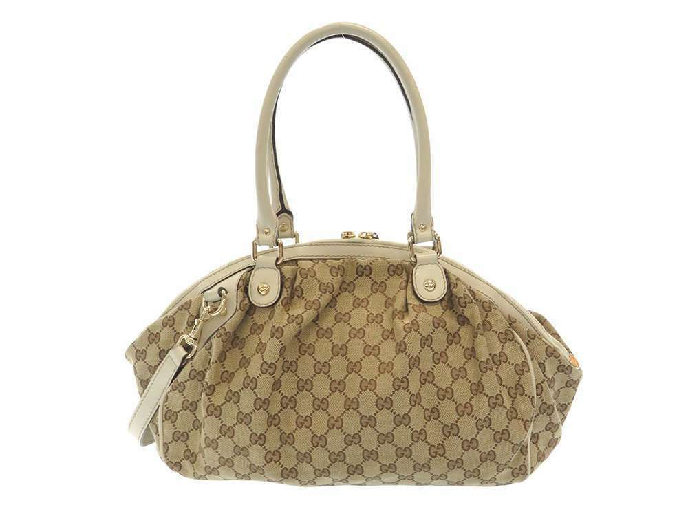 GUCCI Shoulder Bag GG Canvas Leather Ivory 2Way 223974 Italy Authentic 5473601