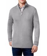 NEW MENS GEOFFREY BEENE BIG TALL HALF ZIP GREY HEATHER PULLOVER SWEATER ... - ₹1,816.14 INR