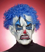 Evil Psycho Blue Clown w/ Curly Hair Mask Adult Halloween Costume Accessory - $25.86