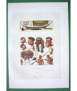 INDIANS of S. Amercia Costume Botocudos Guaranis - COLOR Print A. Racinet - $12.15