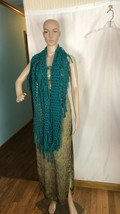 Teal Colored Infinity Scarf Loose Diamond Knit Pattern - $18.79