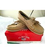 Womens U S Polo Assn Tan Leather Chris Deck Shoe  8.5 Tie Top Anti Skid ... - $24.74