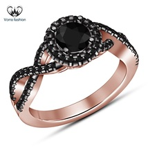Criss Cross Engagement Ring Round Cut Black Diamond Rose Gold Plated 925... - ₨5,223.66 INR