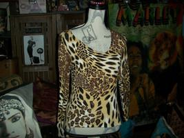 Anthropologie Escio Charming Leopard Print Beaded Knit Blouse Size S - $12.87