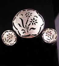 Vintage Silver brooch set - sarah coventry earrings - clip on earrings -... - $75.00