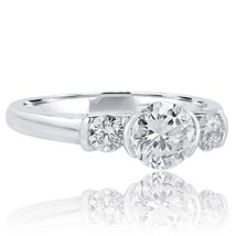 1.49 TCW Three Stone Round Diamond Engagement Ring 18k White Gold - €7.688,60 EUR