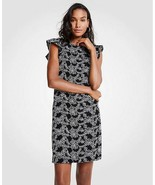 Ann Taylor Dress Petite 2P 4P Shift White Lace Black Ruffle Sleeve Back ... - $69.99