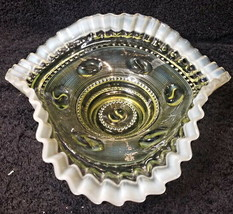 "Green Jefferson Vaseline ""Astro"" Ruffled Bowl - $69.99"