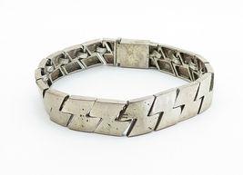925 Sterling Silver - Vintage Smooth Z Designed Link Chain Bracelet - B6006 image 3