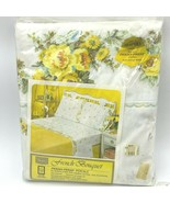 Vintage Sears Twin Flat Sheet French Bouquet Yellow Floral Sealed Percal... - $29.95