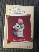 2005 Hallmark Triple Dippin' Bear Ice Cream Cone Ornament - $1.95