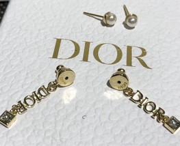 NEW AUTH Christian Dior 2019 DIO(R)EVOLUTION EARRINGS GOLD STAR CRYSTAL DANGLE image 7