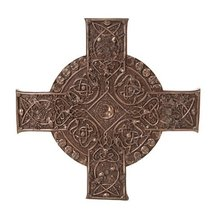 Maxine Miller Elemental Celtic Cross Fire Earth Wind Water Bronzed Wall Plaque - $43.99