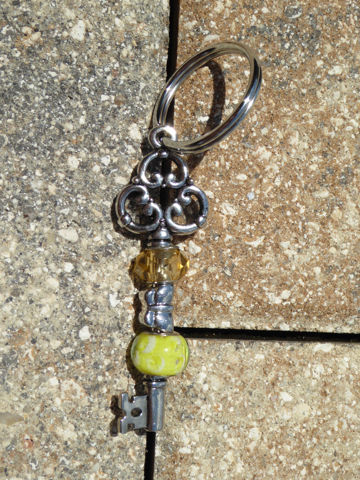 Primary image for Handmade Keychain Yellow Amber Glass Beads Silver Plated Butterfly Bead NWOT