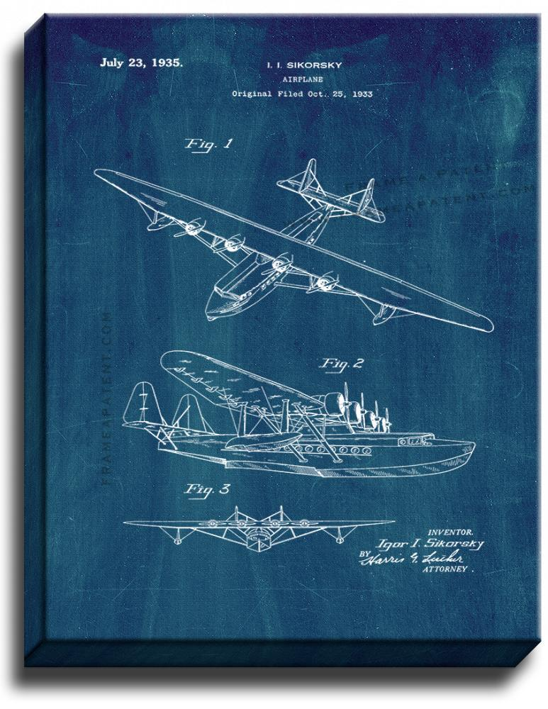 Primary image for Airplane Patent Print Midnight Blue on Canvas