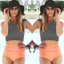Women Striped High Waist Bikini Set Padded Tank Beach Swimsuit Swimwear Swimming