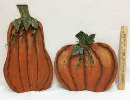 Pumpkins Metal Decor Free Standing Easel Back Pair Rustic Indoor Outdoor... - $29.65