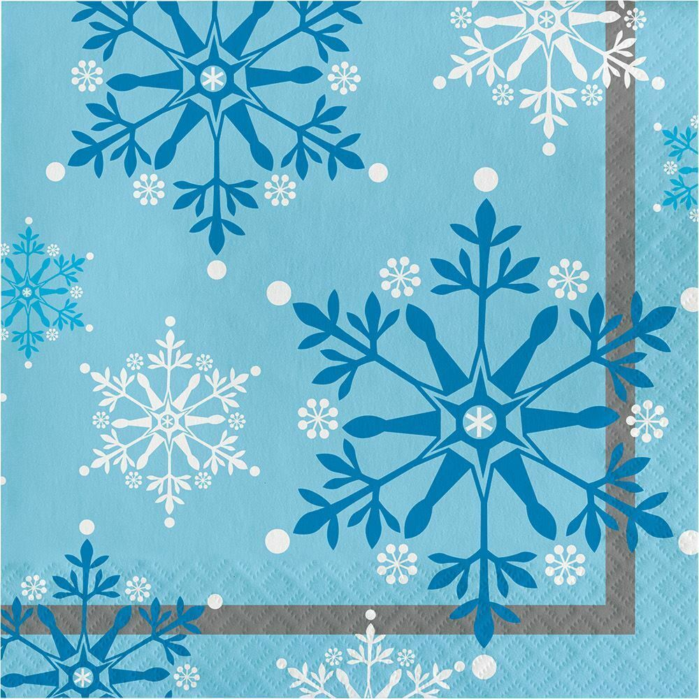 Snowflake Swirls 16 Ct Luncheon Napkins Christmas Holiday