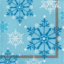 Snowflake Swirls 16 Ct Luncheon Napkins Christmas Holiday - $4.39