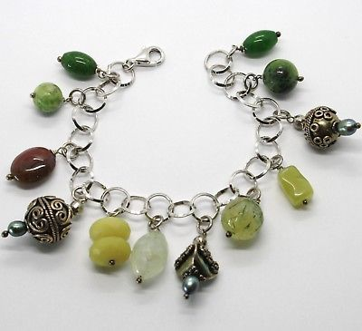 925 STERLING SILVER BRACELET GREEN JASPER, JADE & BROWN AGATE, WORKED PENDANTS