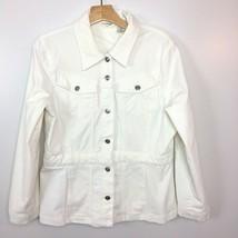 St. Johns Bay L Large Corduroy Jacket Button Front Flap Pockets White Wo... - €17,35 EUR