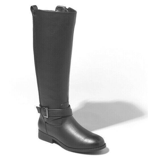 A New Day Women's Faux Black Leather Wendy Tall Riding Buckle Boots