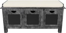 Farmhouse 3-Drawer Weathered Wood Rustic Chalkboard Bench Entryway Shoe ... - $297.99