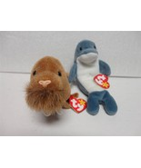 TY Beanie Baby Echo the Dolphin 1996 and Paul the Walrus 1999 with Tags ... - $8.61
