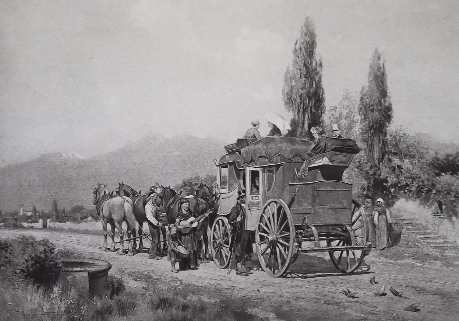 ITALY Country Road Traveling by Diligence Stagecoach - 1888 Photogravure Print