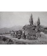 ITALY Country Road Traveling by Diligence Stagecoach - 1888 Photogravure... - $19.80