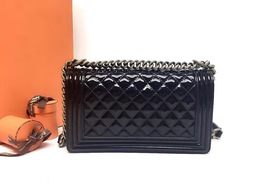 AUTHENTIC CHANEL BLACK QUILTED PATENT LEATHER MEDIUM BOY FLAP BAG GHW image 1